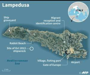 Map of Lampedusa..  By Simon MALFATTO (AFP)