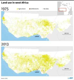 Map showing land use in West Africa.  By Simon MALFATTO (AFP)