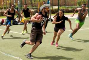 Lacking numbers and resources, male and female members of Morocco's Pirates American football team must train together on the same modest plot of land in the heart of Rabat's Old Town -- and if that's not available, the beach.  By FADEL SENNA (AFP)