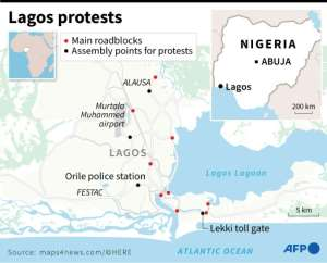 Map of Lagos detailing main assembly points for protests and main roadblocks.  By Gillian HANDYSIDE (AFP)