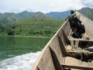 Lake Edward at the border of Congo and Uganda (here in a 2011 photo) was recently the stage of violent clashes between the Ugandan Navy and Democratic Republic of Congo forces, and 92 Congolese fishermen have been imprisoned by the Ugandan navy.  By - (Virunga National Park/AFP)