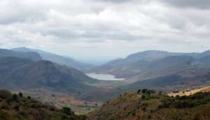 Lake Fundudzi sits among the foothills of South Africa's Soutpansberg Mountains in the northern province of Limpopo