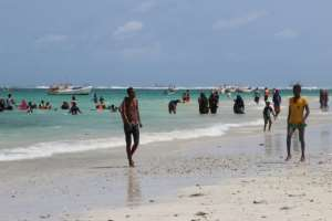 Leisure-seeking residents have flocked to Lido beach, which has seen a restaurant construction boom.  By Abdirazak Hussein FARAH (AFP)