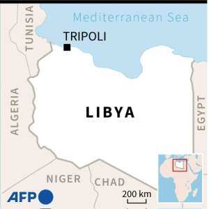 Map showing Tripoli, Libya where an air strike on a migrant detention centre left at least 40 people dead.  By Vincent LEFAI (AFP)