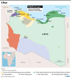 Map showing areas of control in Libya on September 4..  By Thomas SAINT-CRICQ (AFP)