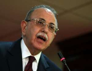 Libya's interim prime minister Abdel Rahman al-Kib speaks during a press conference in Tripoli.  By Mahmud Turkia (AFP)