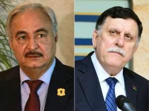 Libyan strongman Khalifa Haftar (L) and Libya's UN-backed Prime Minister Fayez al-Sarraj (R)
