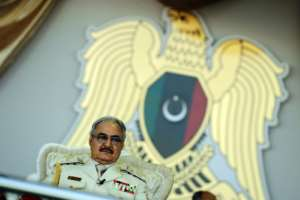 Libyan strongman Khalifa Haftar, pictured in May 2018, has said he hopes for dialogue on the conflict in his country.  By Abdullah DOMA (AFP/File)