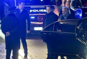 Libyan strongman Khalifa Haftar (2ndR) arrives in Berlin ahead of the summit.  By Christian SPICKER (AFP)