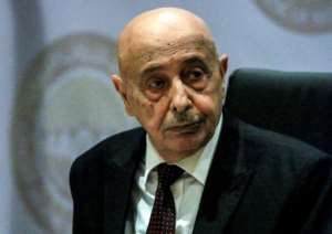 Libyan parliamentary speaker Aguila Saleh was visiting Cyprus amid tensions over Turkey's strategy of wading into Libya's civil war.  By Abdullah DOMA (AFP/File)