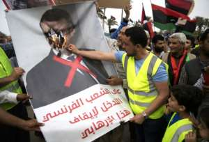 Libyans angered by perceived French support for strongman Khalifa Haftar have protested against President Emmanuel Macron. By FADEL SENNA (AFP/File)