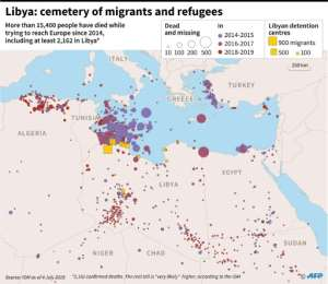 Map locating deaths of migrants and refugees since 2014 in the eastern Mediterannean, with a zoom on Libya, according to the International Organization of Migration..  By Thomas SAINT-CRICQ (AFP)
