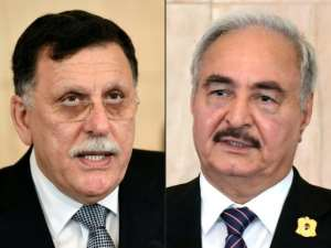 Libya's UN-backed Prime Minister Fayez al-Sarraj is embroiled in a power struggle with former Kadhafi commander, strongman Khalifa Haftar.  By FETHI BELAID, HO (AFP)