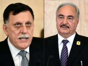 Libya's UN-recognised Prime Minister Fayez al-Sarraj (left) and strongman Khalifa Haftar (right).  By FETHI BELAID, HO (AFP/File)