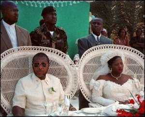 Jewel Howard Taylor (L, at her 1996 wedding) wants a ban on gay marriage.  By Francois Harispe (AFP/File)