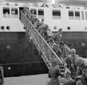 Long war: French soldiers of the 20th Infantry Division land in Algiers in 1956.  By COUILLARD (AFP/File)