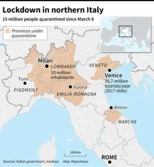 REgions of northern Italy under quarantine in bid to stem coronavirus spread.  By Robin BJALON (AFP)