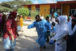 Many of the wounded were taken to the city's Madina Hospital.  By Abdirazak Hussein FARAH (AFP)
