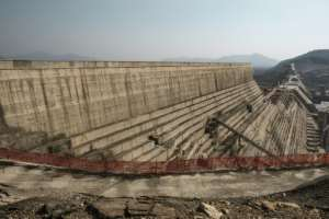 Many Ethiopians view the mega-dam, seen here while under construction last December, as a source of national pride.  By EDUARDO SOTERAS (AFP/File)