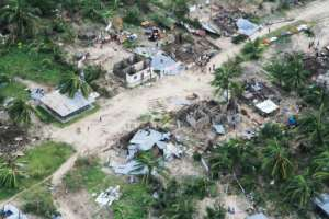 Many homes in Macomia were ravaged by the cyclone.  By SAVIANO ABREU (OCHA/AFP)