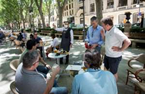 Many Spaniards enjoyed new freedoms on outdoor terraces after weeks of stay-home orders.  By JAIME REINA (AFP)
