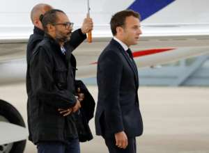 Macron's body language was notably cold as he met the freed French hostages. By FRANCOIS GUILLOT (POOL/AFP/File)