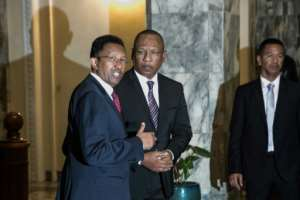 Madagascar President Hery Rajaonarimampianina, left, and Prime Minister Christian Ntsay at Monday's announcement of the new government.  By RIJASOLO (AFP)