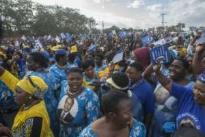 Malawi's President Peter Mutharika won the May 2019 election with 38.5 percent of the votes.  By AMOS GUMULIRA (AFP)