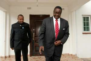 Malawi's vice president Saulos Chilima (L) with President Peter Mutharika (R), pictured together when they were running mates in 2014.  By AMOS GUMULIRA (AFP/File)
