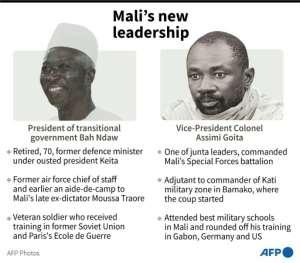 Mali's interim leaders.  By Jonathan WALTER (AFP)