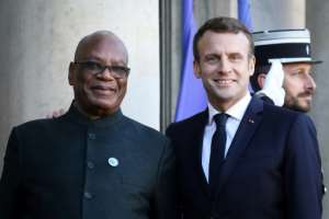 Mali's President Ibrahim Boubacar Keita held talks with French counterpart Emmanuel Macron in Paris last November.  By LUDOVIC MARIN (AFP/File)