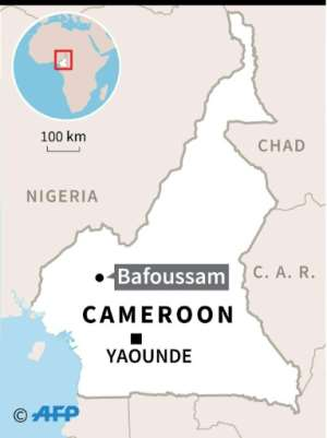 Map of Cameroon locating deadly landslide in the western city of Bafoussam.  By  (AFP)