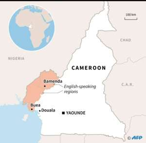 Map of Cameroon locating English-speaking regions and their capitals, Bamenda and Buea..  By Valentina BRESCHI (AFP)
