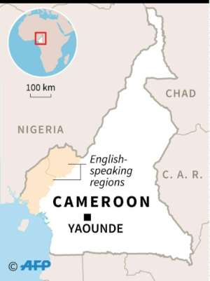 Map of Cameroon, locating its two English-speaking regions.  By  (AFP)