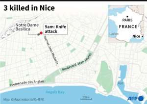 Map of central Nice locating knife attack.  By Simon MALFATTO (AFP)