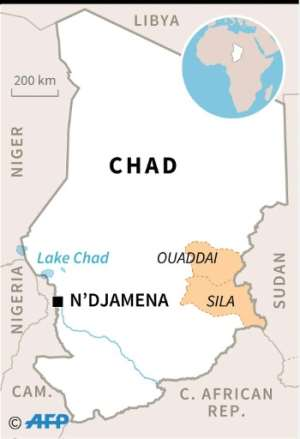 Map of Chad locating the eastern provinces of Sila and Ouaddai..  By  (AFP)