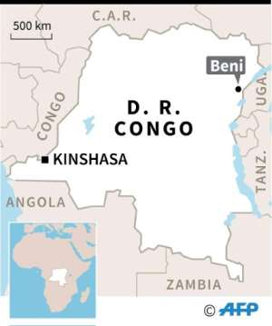 Map of Democratic Republic of Congo locating Beni..  By  (AFP)