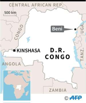 Map of DR Congo locating Beni, where the ADF militia is active.  By  (AFP)