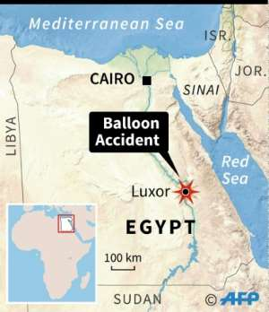 Map of Egypt locating the site of a hot-air balloon accident near Luxor