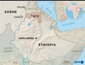 Map of Ethiopia and Sudan locating the Ethiopian region of Tigray and the Sudanese border town of Kassala.  By Simon MALFATTO (AFP)
