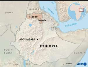 Map of Ethiopia locating Mekele in Tigray.  By Simon MALFATTO (AFP/File)