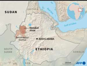 Map of Ethiopia locating the area of Metekel.  By Simon MALFATTO (AFP)