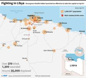 Map of Libya showing areas of displacement since clashes started on April 4..  By  (AFP)