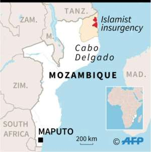 Map of Mozambique locating districts of Cabo Delgado province affected by an Islamist insurgency.  By Gillian HANDYSIDE (AFP)