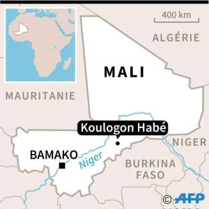 Map of Mali with location of Koulogon Habe.  By  (AFP)