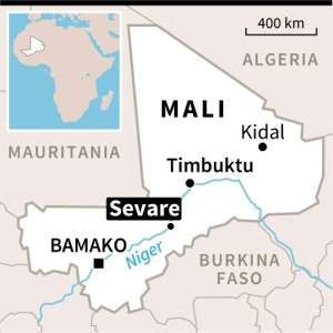 Map of Mali, locating the capital Bamako and Sevare, the main town in the troubled central region.  By afp (AFP)