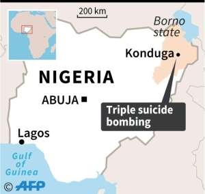 Map of Nigeria locating the town of Konduga, hit by a triple suicide bombing late Sunday.  By AFP (AFP)