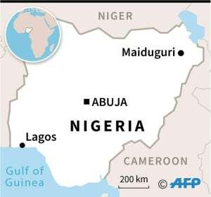 Map of Nigeria locating Maiduguri, near the site of Saturday's massacre.  By  (AFP)