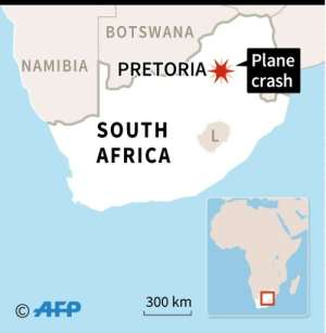 Map of South Africa locating Pretoria, where a plane crashed on Tuesday.  By AFP (AFP)