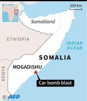 Map of Somalia locating the capital Mogadishu, where a car bomb killed three security guards Sunday.  By AFP (AFP)